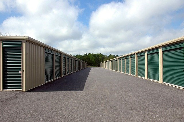 Storage units on a cloudy day.